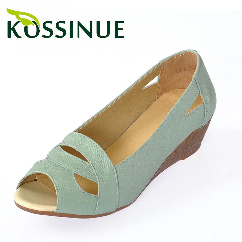 Women shoes Summer plus size(35-43) new women genuine leather sandals wedges open toe comfortable female sandals mother shoes<br><br>Aliexpress