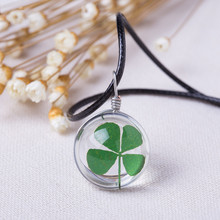 2016 Hot Fashion Crystal glass Ball Clover Necklace Long Strip Leather Chain Pendant Necklaces Women Lucky Wish Locket Jewelry(China)