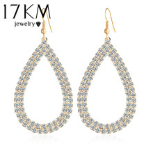 17KM Hot Selling Jewellery Stores Top Quality Fashion Design Big Crystal Water Drop Earings For Women Bridal Brand Jewelry(China)