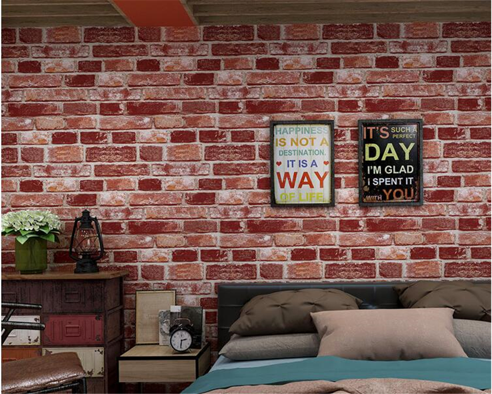 beibehang Fashion atmosphere pvc wallpaper retro brick pattern stereo brick wall paper hotel living room background 3d wallpaper<br>
