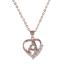 Lovely Mother and Children Heart  crystal stones Pendant Necklace jewelry for gifts