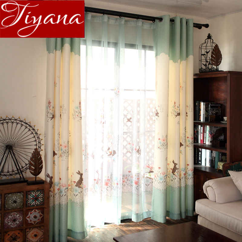 Cartoon Curtains for Girls Kids Room Rabbit Window Bedroom Floral Sheer Fabrics for Living Room Tulle Curtains Drapes X404 #30