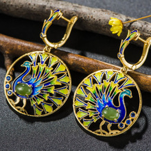 Mythai Female Drop Earrings Ethnic Earrings Cloisonne Jewelry Ladies 925 Sterling silver Round Peacock Retro Earrings For Women(China)