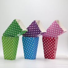 Colorful Polka Dot pattern Paper Popcorn gift candy movie Boxes Loot bags kids Birthday Party Spot Supplies Treat favors 6pcs