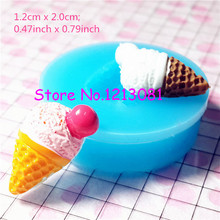 XYL032 Ice Cream Flexible Silicone Mold with Scoop Cherry Miniature Sweets Deco Fimo Polymer Clay Jewelry Charms Cabochon