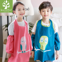 Children's waterproof apron students drawing clothes set (Apron + oversleeve) Kids aprons for Cleaning Kitchen Cooking Clothes(China)