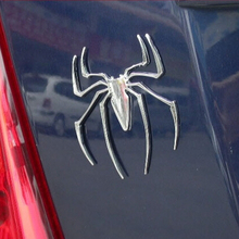Car Styling 3D Spider Car Truck Motor Metal New Cute Animal Shape Emblem Chrome Silver Metal Car Sticker Auto Badge Emblem(China)