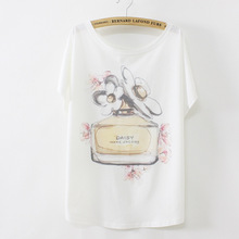 2017 New Fashion T Shirt Women T-Shirt Female Big Size Bat Sleeve Girl Perfume Print T-Shirt Summer Punk