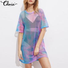 Celmia Summer Dress Multicolor Tie Dye Print See Through Sexy Short Mini Shift Dress Short Sleeve Round Neck Tee T shirt Dress