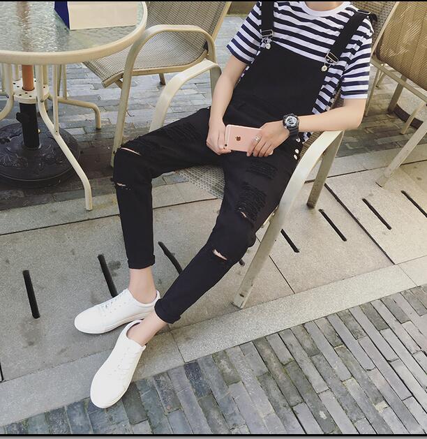 Spring personality Mens slim big hole ripped jumpsuit denim jean overalls black white bib pantsÎäåæäà è àêñåññóàðû<br><br>