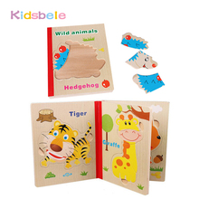 Kids Puzzles Toys Wooden Jigsaw Book Cartoon Animal Fruit 3 Page Early Educational Learning Brinquedos Intelligence Baby Gift(China)