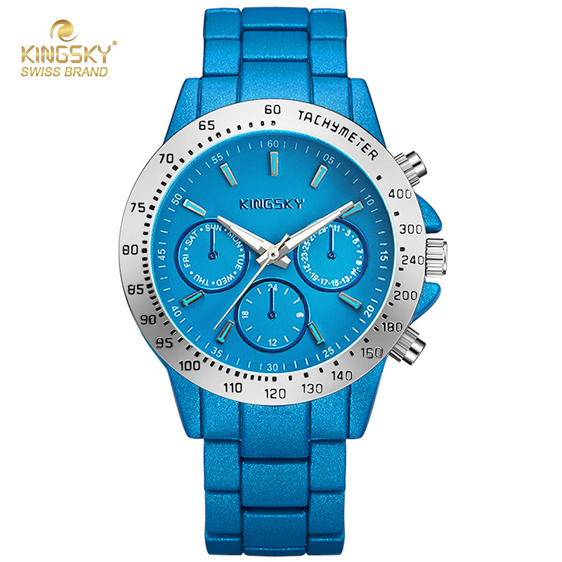 New Design Blue Mens Watch 3 Small Dials Alloy Band Quartz Watch Wristwatch Fashion Casual Watches For Men Brand Logo <br><br>Aliexpress