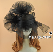 Fashion Real Image Bridal Fascinator With Feathers Cheap Summer Hats 2016 Hand Made Black Hair Accessories Bride Hair Accessorie
