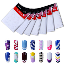 Belen 12 Packs Style Nail Art DIY Sticky French Tip Guides Finger Manicure Straight Wavy Line Star Shape Manicure Stencil
