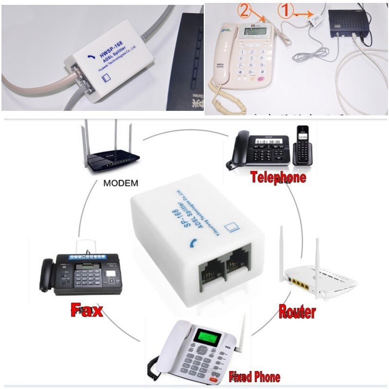 DSL Phone Line Noise Filter Adapter for DSL Modem Router Fax ADSL VDSL Router
