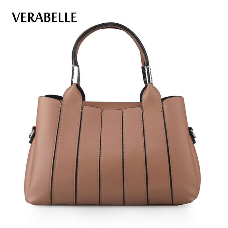 VERABELLE 2017 tote PU leather women top-handle handbag fashion business female boston messenger solid bags with shoulder strap<br>