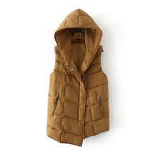 Women Quilted Padded Asymmetric Vest With Hood(China)