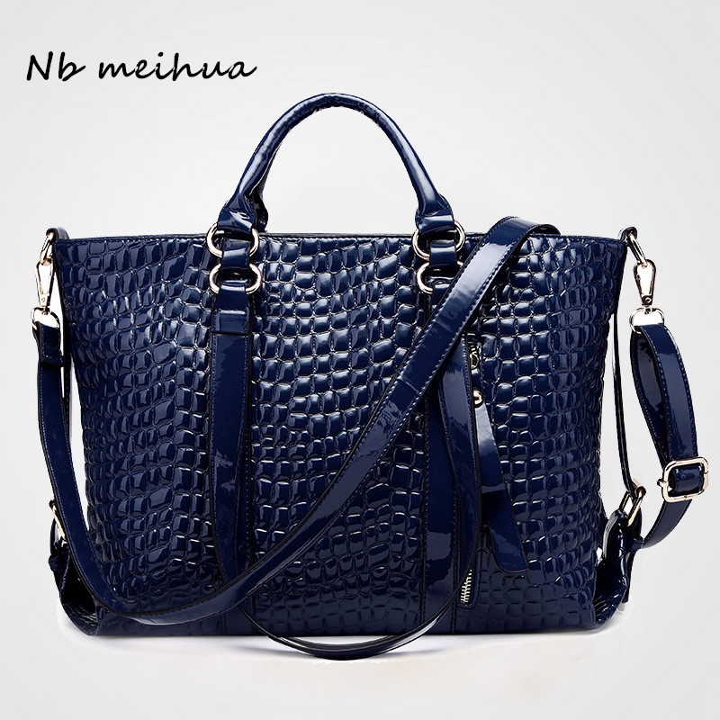 Nb meihua Brand PU Alligator Leather Women Large Shoulder Bag Female Crocodile Patten Fashion Bag With Zipper Ladies Handbags <br>