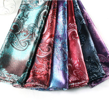 Charmeuse-Fabric Satin-Material Lining-Craft Cashew Silky Paisley-Pattern Polyester Diy