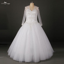 Cheap Wedding Dresses Made In China Bling Bridal Floor Length Long Sleeve Wedding Gown RSW806