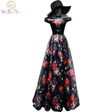 Walk Beside You Print Evening Dresses White/Black Long 2017 formal dress women  Off the Shoulder Prom Gowns Real Photos