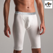 Fashion Style Men Sleep Bottoms Underwear Long Boxer Knee Length Shorts Sexy Low Waist Sleepwear Brand Casual(China)