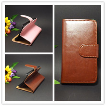 Crazy horse Flip leather case Credit Card Slots and stand function  for iphone 4 4s 4g Free shipping