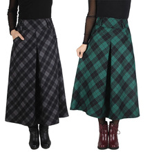 2015 Spring Autumn Women High Waist Plaid Ankle Length Long Skirts Plus size Pleated Pocket Woolen Skirt Green/ Grey/ Purple