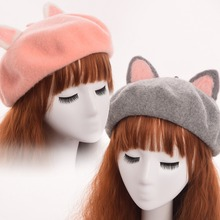 1pc Girls Cute Pink/Gray Car Ears Beret Hat Headwear Gift Handmade