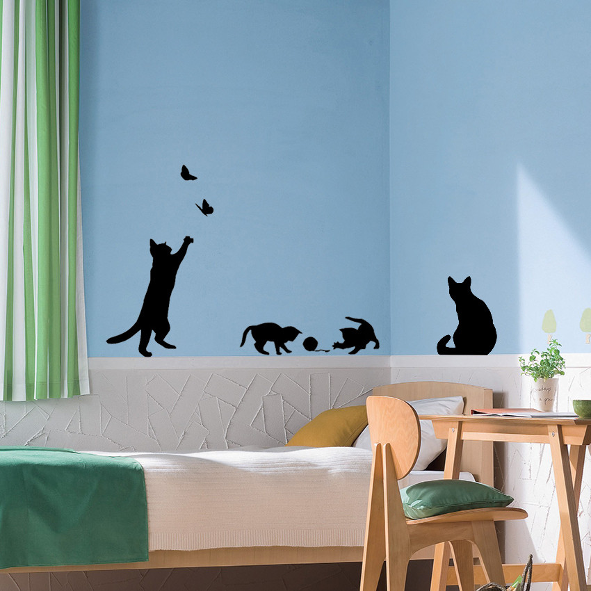 HTB17uvKNpXXXXXJapXXq6xXFXXXG - 1 Set/Pack New Arrived Cat play Butterflies Wall Sticker Removable Decoration Decals for Bedroom Kitchen Living Room Walls