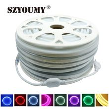 SZYOUMY In Stock 50m Waterproof IP67 LED Strip Lights Flexible 220V SMD2835 RGB 120 Leds Neon Light 8*16mm Side Glowing Lamp