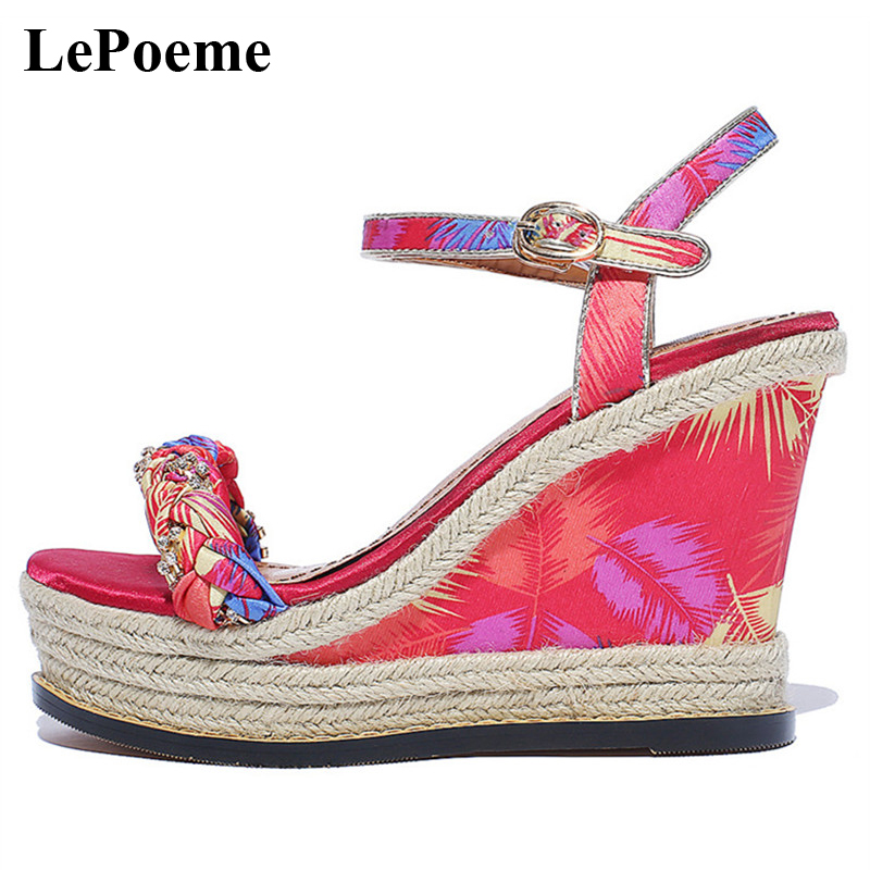 Straw Wedges Sandals Crystal High Heel Sandals Woman Brand 2017 Ladies Casual Fashion Summer Metal Buckle Women Sandals<br>
