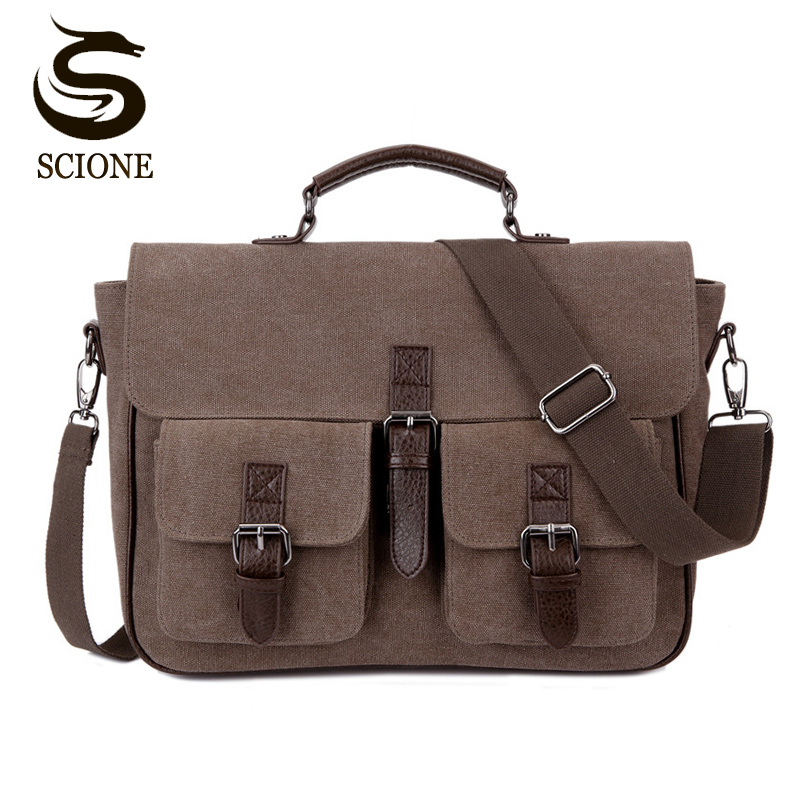 Office Man Briefcase Bag Classic Style Business Men Bag Documents Canvas Shoulder Bag Back pack Rucksack Mens Canvas Handbags<br>