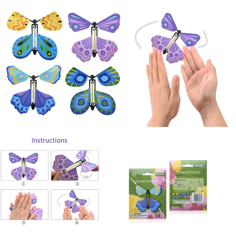 Butterfly Greeting Card With A Magic Flyer Wind Up Butterfly Inside Blank Card
