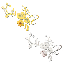 Home Decoration Accessories 3D Stereo Mirror Wall Stickers DIY Gold/silver Hibiscus Flower 3D Wall Stickers Wall Decals Poster(China)