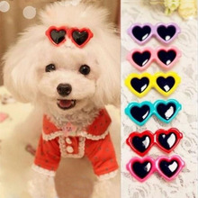Random Color! 2Pcs Fashion Style Pet Dog Bows Dog Accessories Love Glasses Design Pet Dog Hair Bows Pet Grooming Products ZHH227