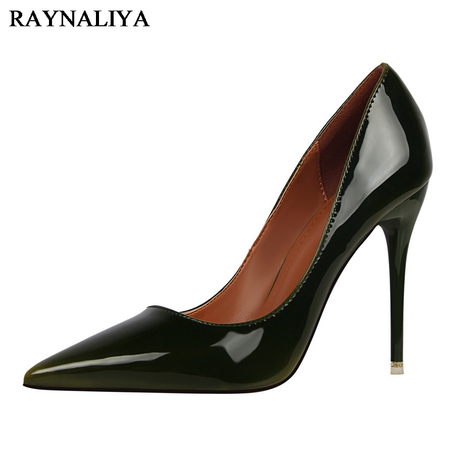 Women Elegant Pumps High Heels Shoes Thin Heel Female Shoes Shallow Mouth Pointed Toe Sexy Patent Leather Shoes DS-A0014<br>