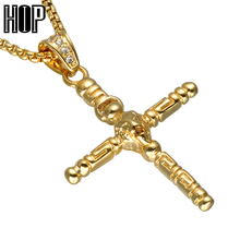 HIP Hop Gold Color Stainless Steel Cross Pendant Necklaces Men Sign Lion Head Necklace Christian Jewelry(China)