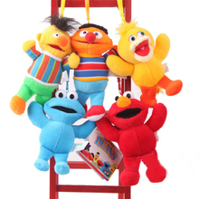 5pcs/lot Sesame Street Elmo Big Bird Erine Bert Cookie Monster Stuffed Plush Dolls Toys Pendant Keychain Phone Chains  -5""