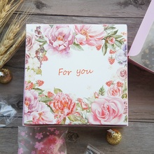 13.5*13.5*5cm 10pcs pink rose for you design Paper Box for Cheese candy Cookie valentine gift Packaging Wedding Christmas Use(China)
