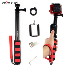 SOONSUN New Telescoping Extendable Pole Handheld Monopod + Phone Holder Clip + WiFi Remote Mount Adapter for GoPro Hero 4/3+/2/1
