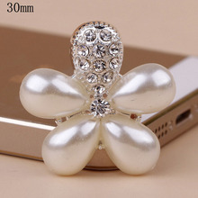 HBC102 25pcs 30mm silver/gold flower pearl embellishment for handmade flower ,flat back rhinestone embellishment