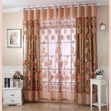 250cmx100cm Print Floral Voile Door Curtain Window Room Curtain Divider Scarf Window Curtain #GH35(China)