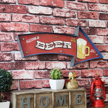 Beer with LED Light Sign Board Plaque Home Room Coffee Shop Bar Pub Countryside Decoration Vintage Neon Iron Wall Direction