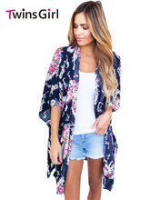 New 2017 Fashion Summer Beach Swimwear Bohemian Style Night Club Dress Flower Print Open Front Kimono vestido de festa LC42209