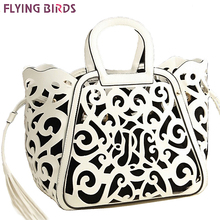 FLYING BIRDS! 2016 new women leather handbag designer messenger bags women shoulder bag hollow out tote tassel bolsas LS5024fb