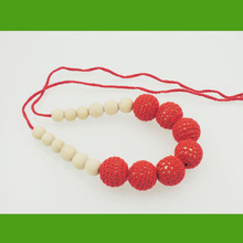 Handmade breastfeeding Snow white Red crochet necklace, cotton cord knitted  baby shower toy new-born baby toy NW1957