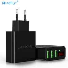 RAXFLY 3 Ports USB Phone Charger For iPhone Samsung iPad LED Display [EU/US 5V/2.4A] Fast Charging Wall Travel Charger Adapter(China)