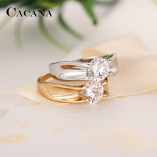 CACANA Cubic Zirconia Rings For Women Receptacle Stype Trendy Zinc Alloy Rings Jewelry Bijouterie Wholesale  NO.R545