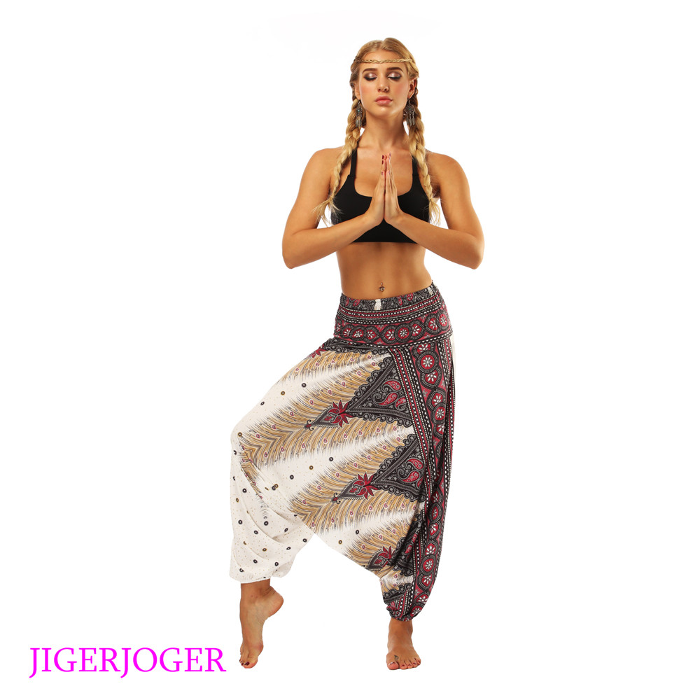 LL002 White feather aztec printed Thailand style costume harem pants lantern legging bloomers (3)